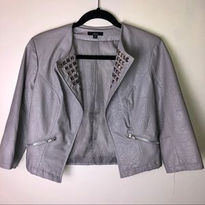 Jackets & Blazers - Gray faux leather studded jacket